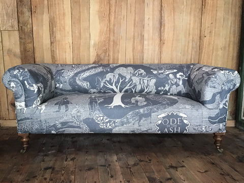 'Ode to the Ash' hand-printed Victorian Chesterfield