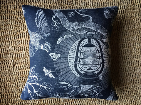 'Nightjars' block-printed linen cushion