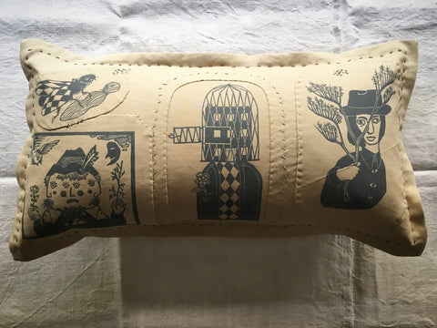 'Folk' cushion - 'Plant lore, metamorphosis, the pull of the road & needle furze'