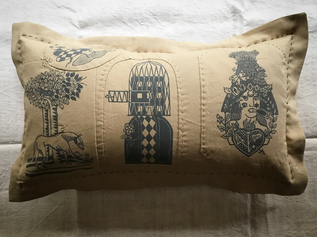 'Folk' cushion - 'Long dog and hare, the pull of the road, May Queen & metamorphosis'