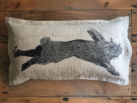 Patched poacher's cushion - 'Hare'