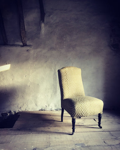 Napoleon III slipper chair in 'Lyme Bay' hand-printed linen