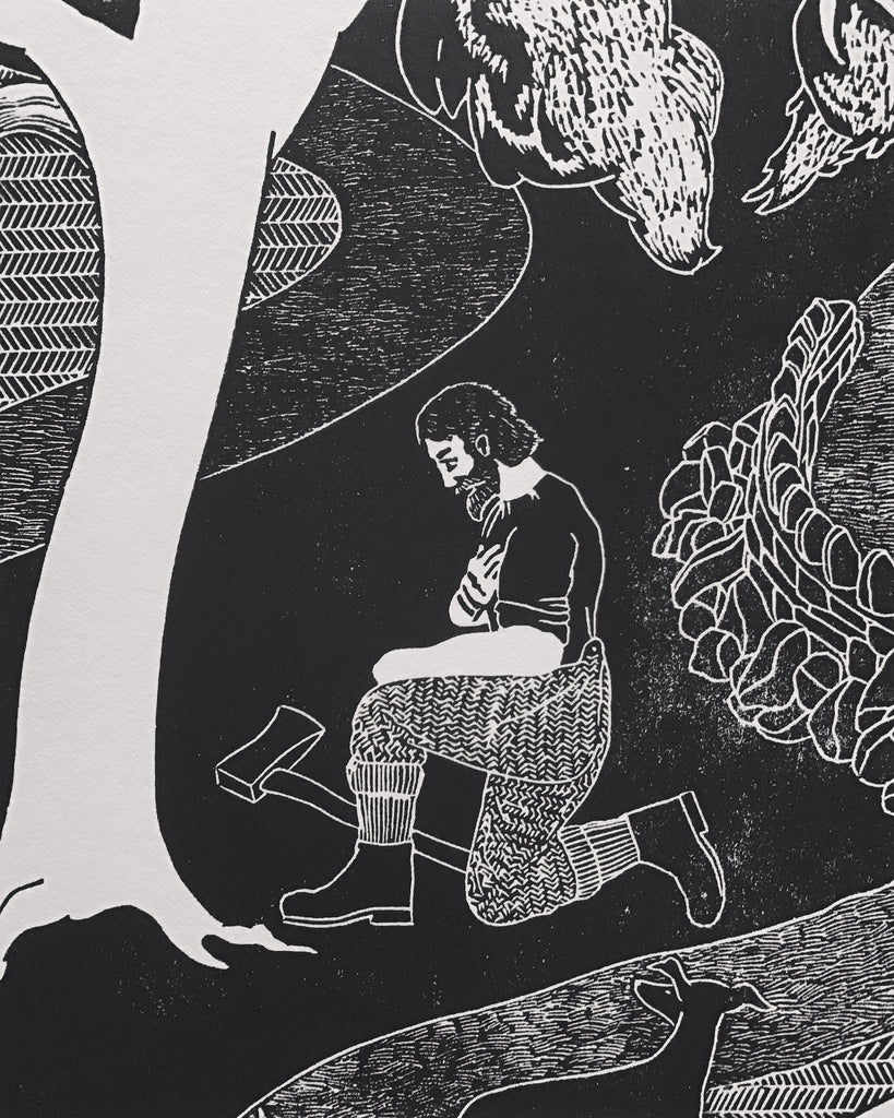 'Ode to the Ash' - large, limited edition block print