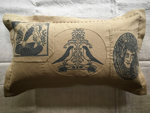 'Folk' cushion - 'Merciful cloud, nightingales & the boy in the brook'