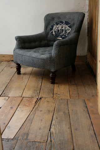'Ship on Lyme Bay' block-printed 19th Century library chair