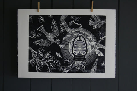 'Nightjars' limited edition block print by Cameron Short at Bonfield Block-Printers