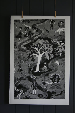 'Ode to the Ash' limited edition block print by Cameron Short at Bonfield Block-Printers