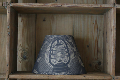 'Nightjars' block-printed lampshade by Cameron Short at Bonfield Block-Printers