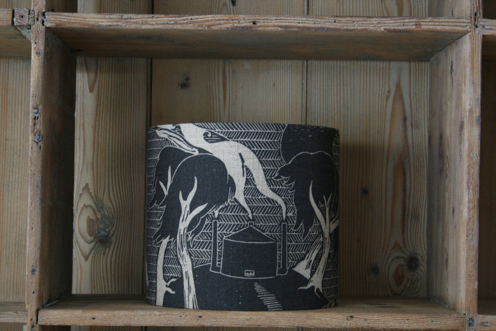 'Ode to the Ash' lampshade by Cameron Short at Bonfield Block-Printers