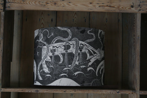 'Ship in a Battle' block-printed lampshade by Cameron Short at Bonfield Block-Printers