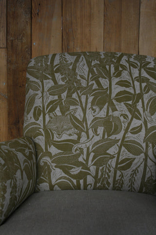 'Varx' hand block-printed fabric on antique armchair