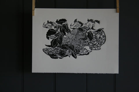 'Brocade Shoe among Nettles' limited edition block print