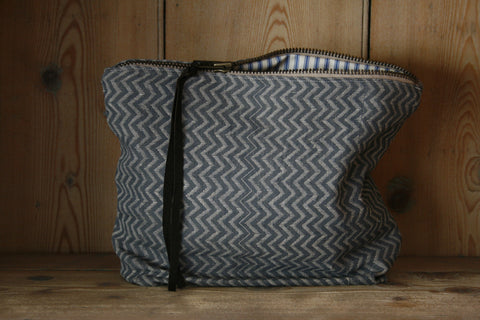 Large block-printed travel bag/toilet bag