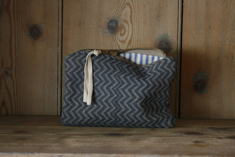 Small block-printed travel bag/toilet bag