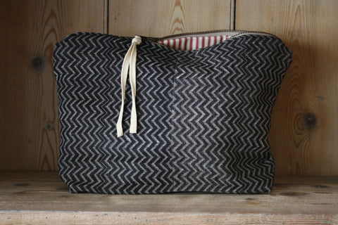 Extra large block-printed travel bag/toilet bag