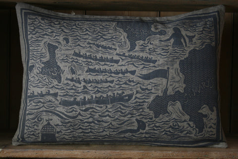 'Azook!' hand block-printed cushion