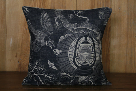 'Nightjars' hand block-printed cushion