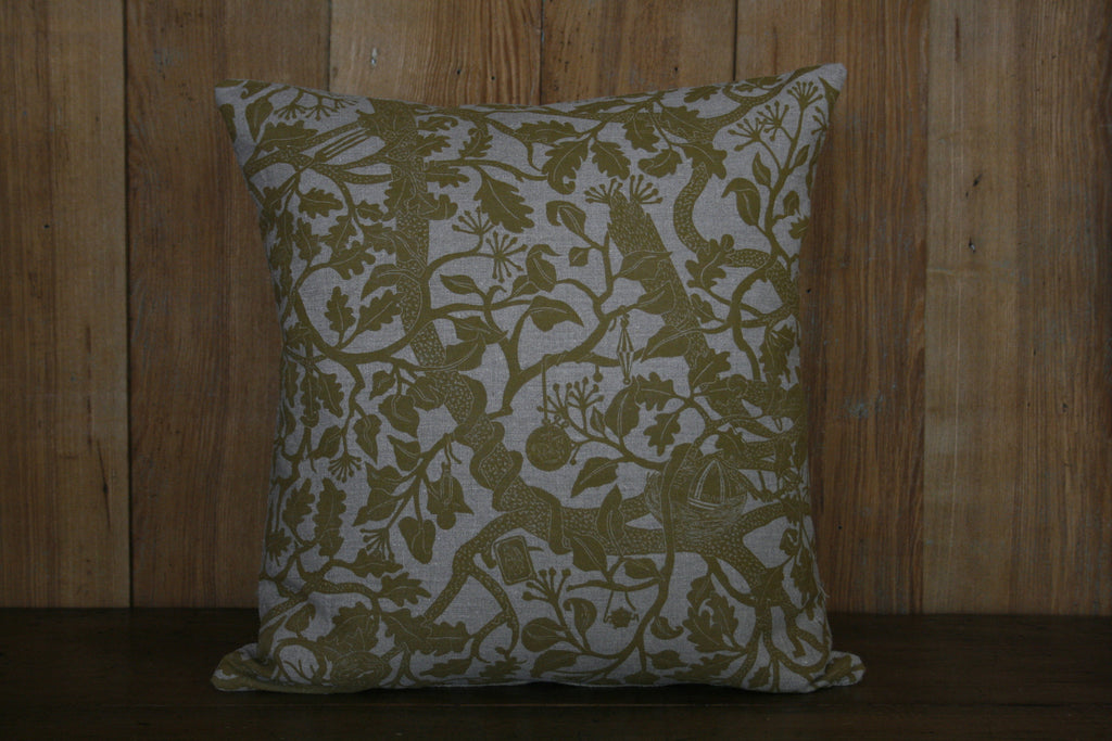 'Treasure Tree' block-printed cushion