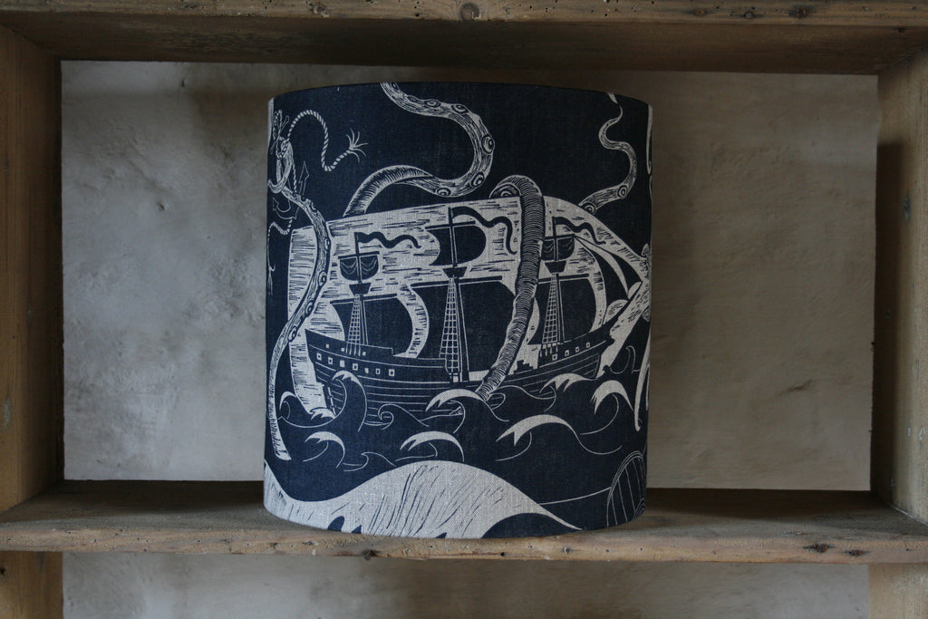 'Ship in a Battle' drum lampshade