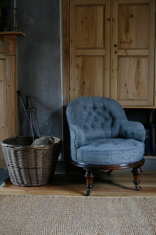 'Lyme Bay' block-printed 19th Century armchair