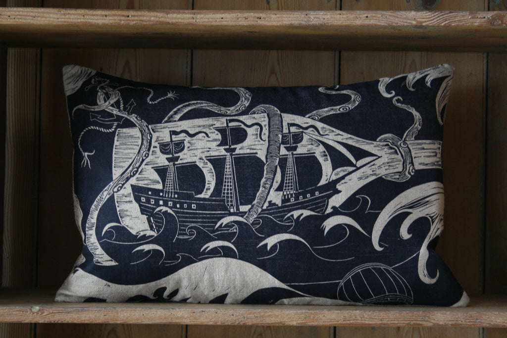 'Ship in a Battle' block-printed cushion
