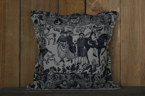 'Bloodlines' block-printed cushion
