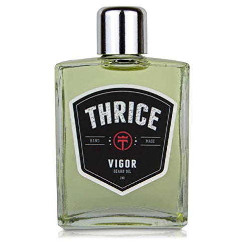 THRICE™ Beard Oil - Vigor Blend - 2 fl oz - All Natural Beard Oil for Men Helps Reduce Beard Itch & Soften Coarse Facial Hair for an Ultra Smooth Beard