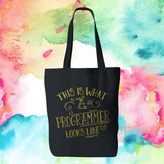 "Gold Ink ""This Is What a Programmer Looks Like"" Tote Bag"