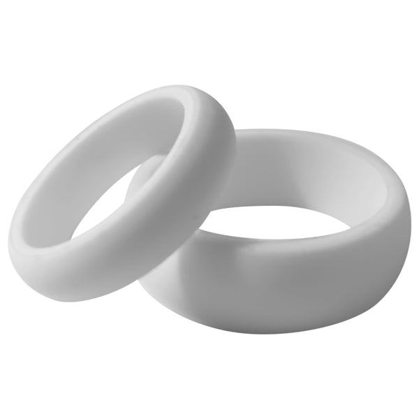 Silicone Wedding Ring 2 Pack for Men and Women Pure White Rubber