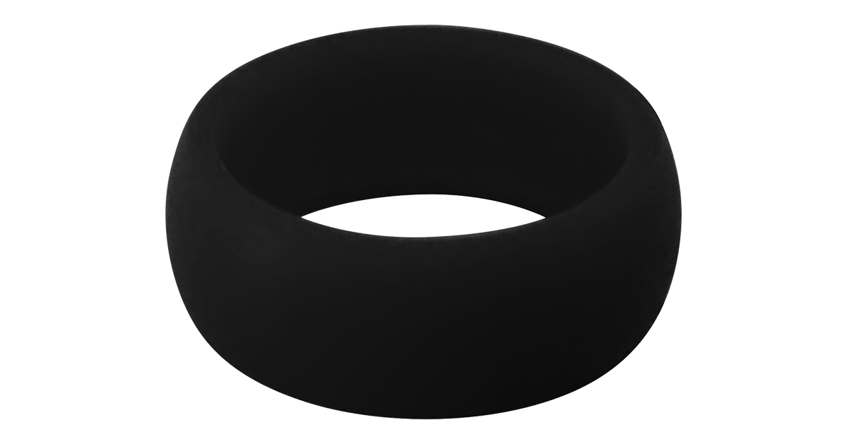 Silicone Wedding Ring 2 Pack for Men and Women - Jet Black