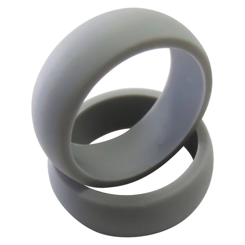Silicone Wedding Ring 2 Pack for Men and Women Space Gray Rubber