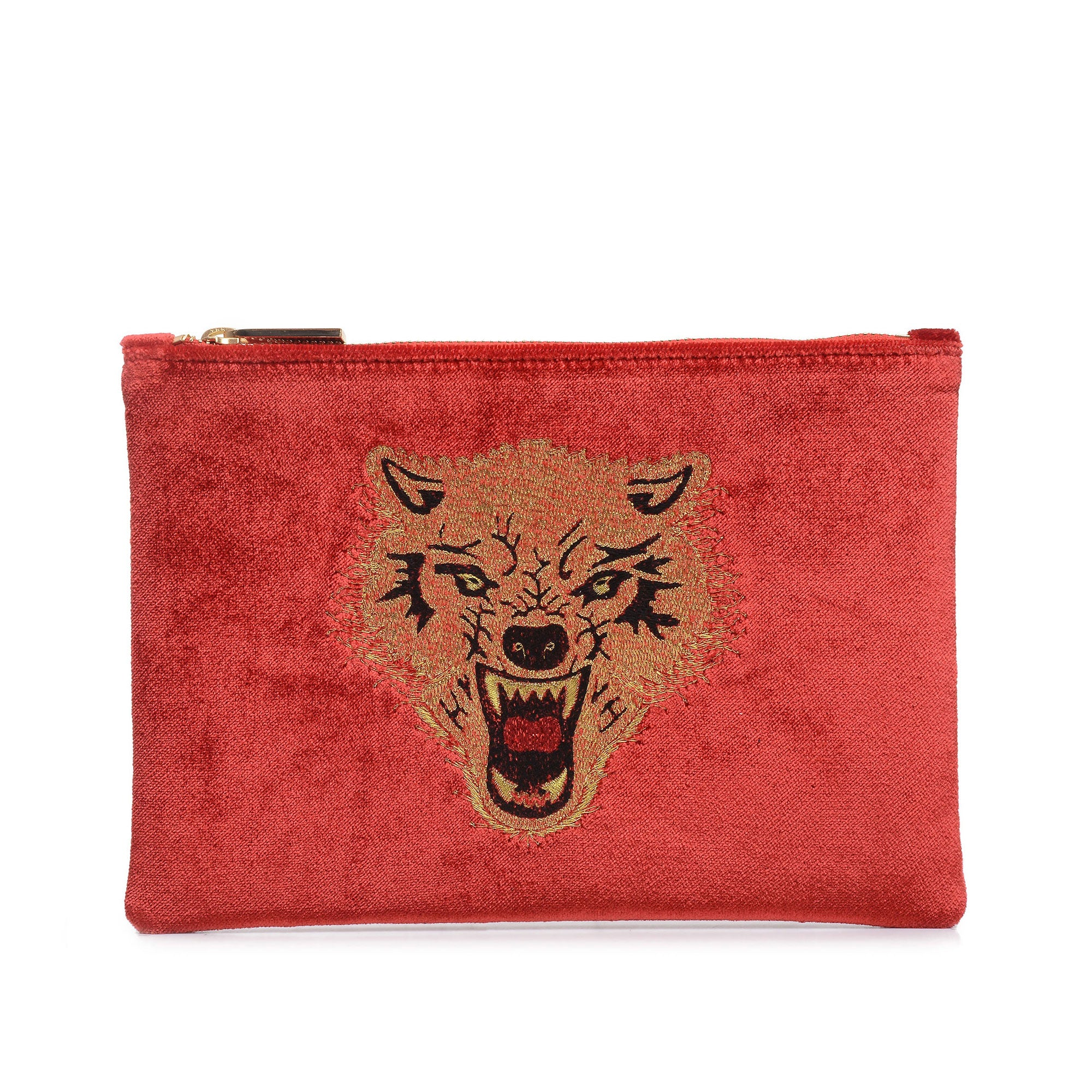 WOLF EMBROIDERED CLUTCH BAG