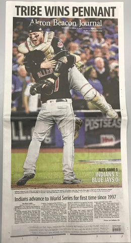 (PICKUP ONLY) TRIBE WINS PENNANT - Akron Beacon Journal October 20, 2016 Edition