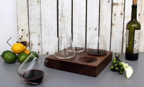 Set of 4 Revolving Glasses on Black Walnut Stand