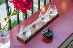 Flight of Hand Blown Glasses 4 Revolving Stemless On Walnut Stand