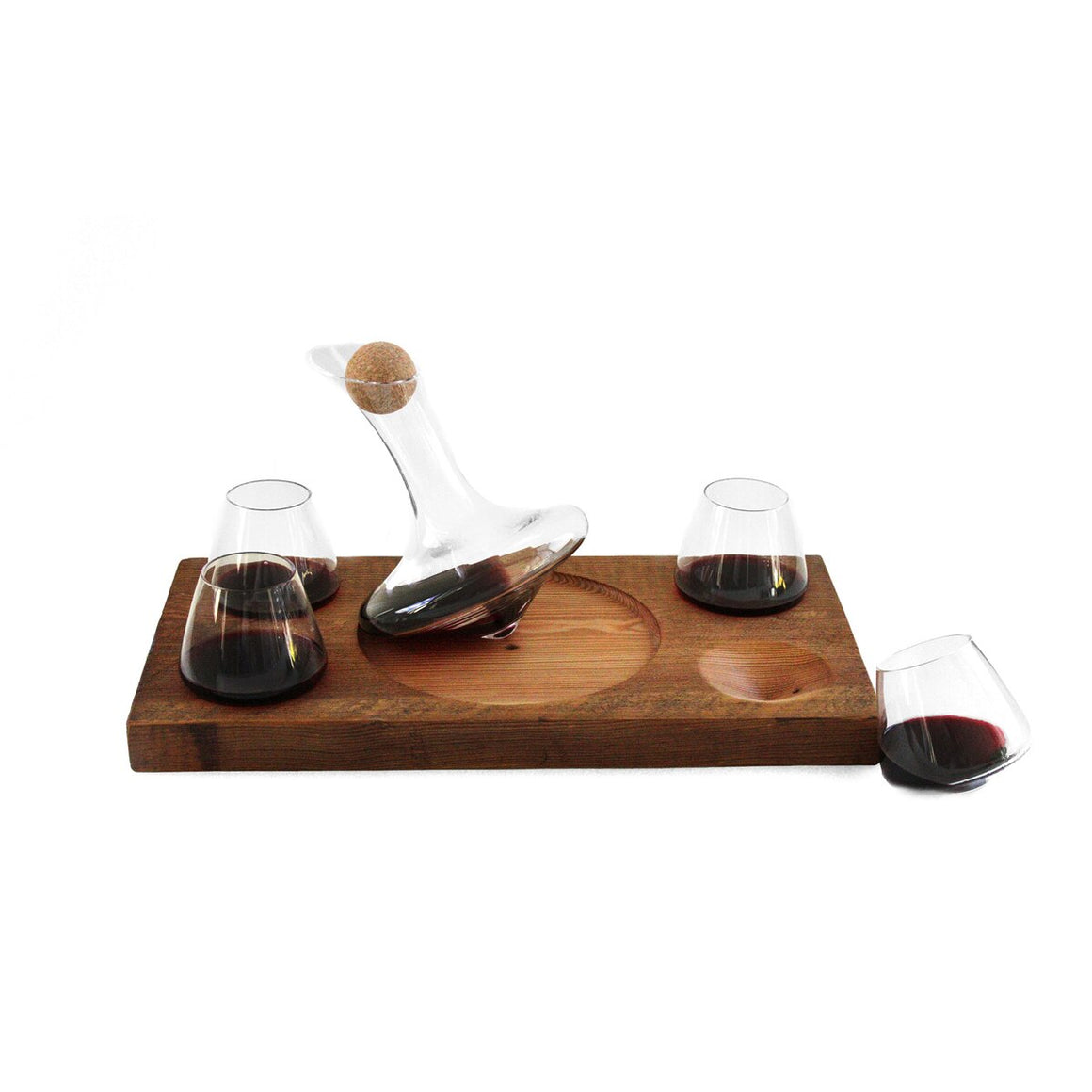 Revolving Glasses and Decanter on Barn Wood Stand