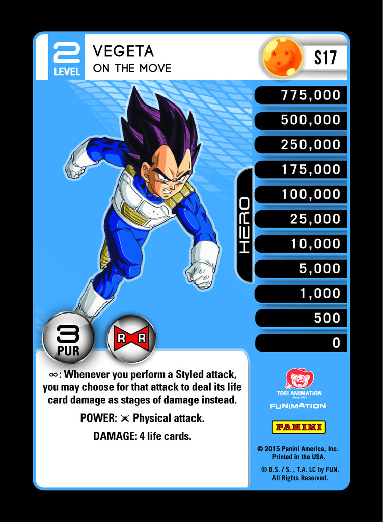 S17 Vegeta on the Move Lv2 Rainbow Prizm