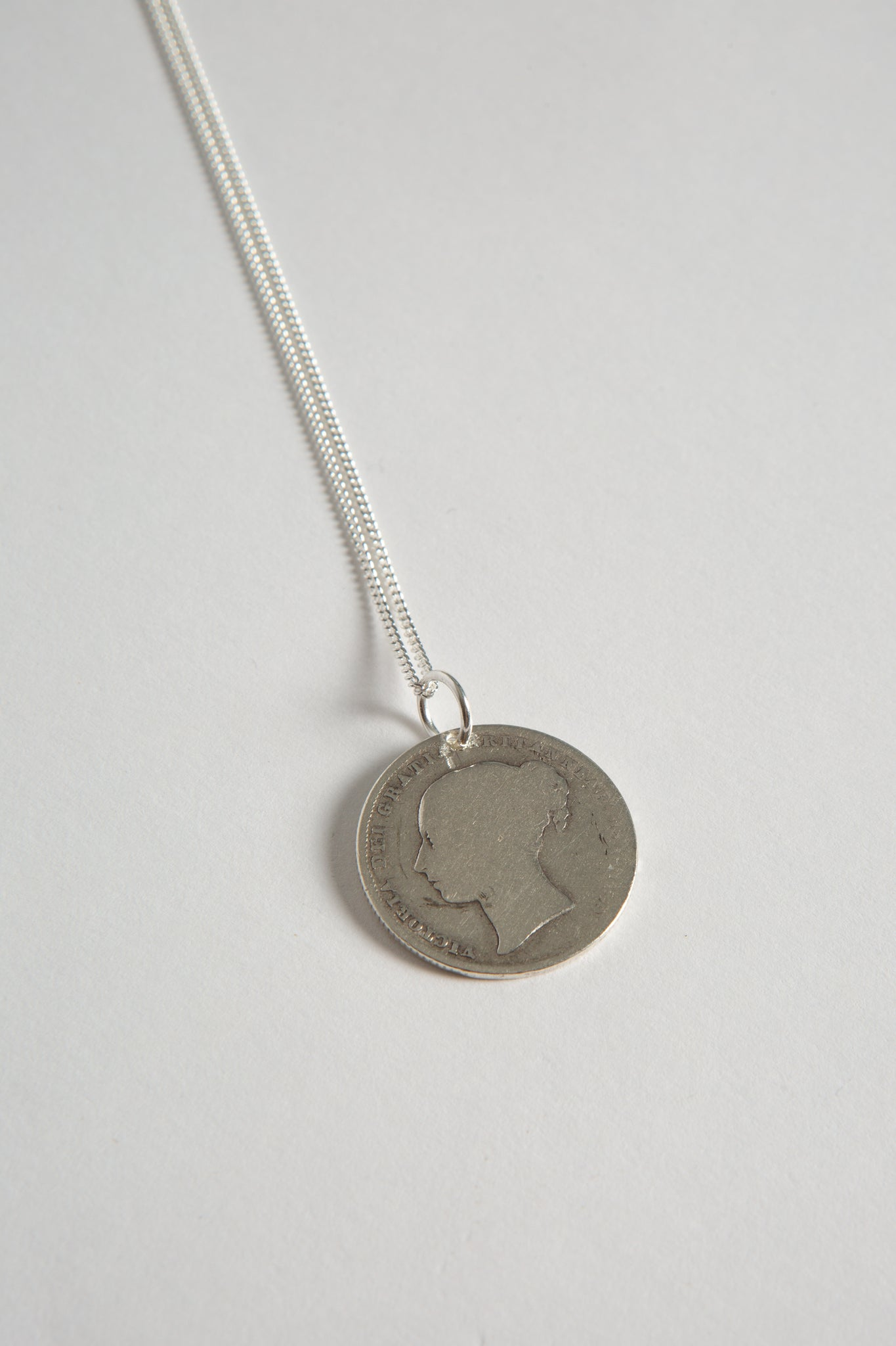 Sterling Silver Large Coin Necklace