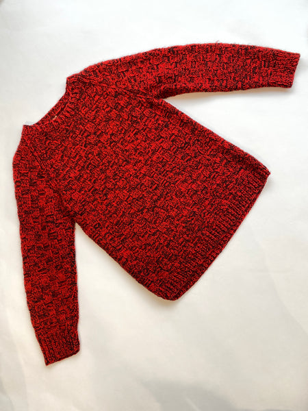 Hand Knitted Wool Blend Red Fleck Jumper