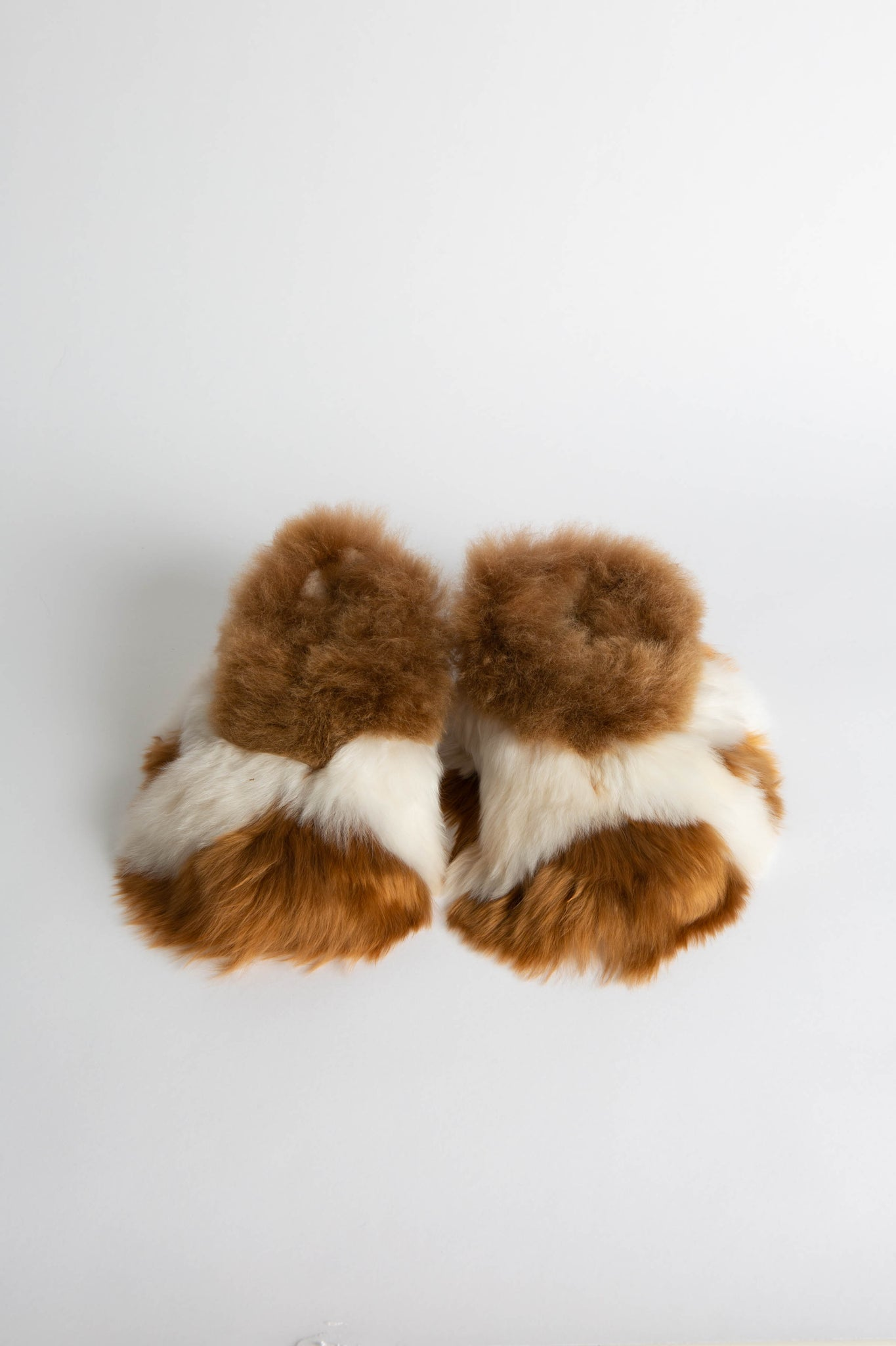 Brown & White Alpaca Slippers