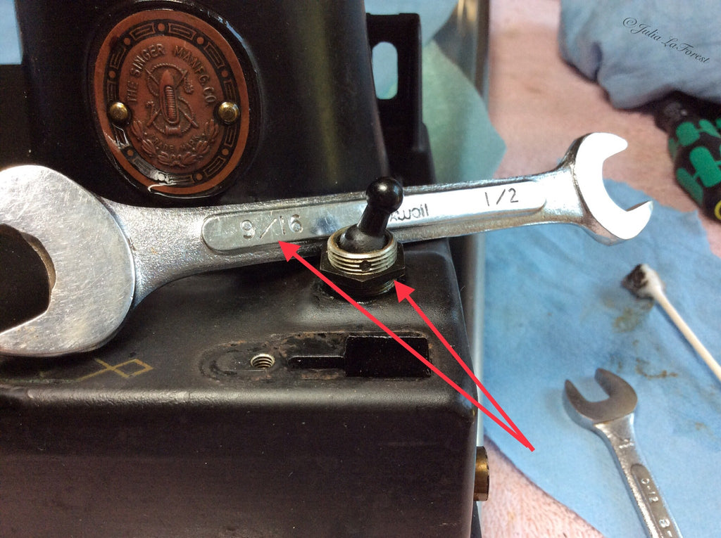 "A 9/16"" wrench was used to remove the retaining nut on the toggle switch"