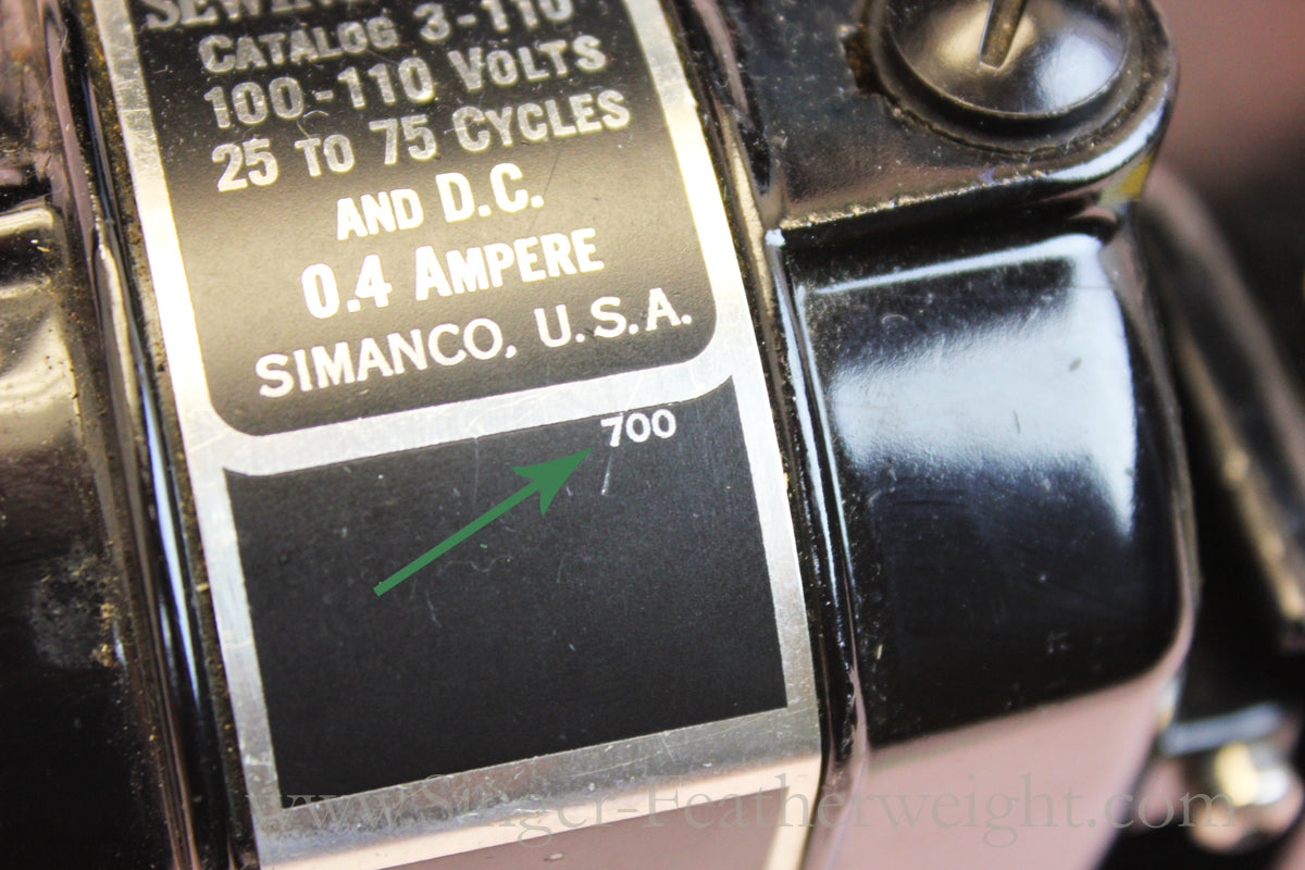Singer Featherweight 221 Motor With Small indication Numbers