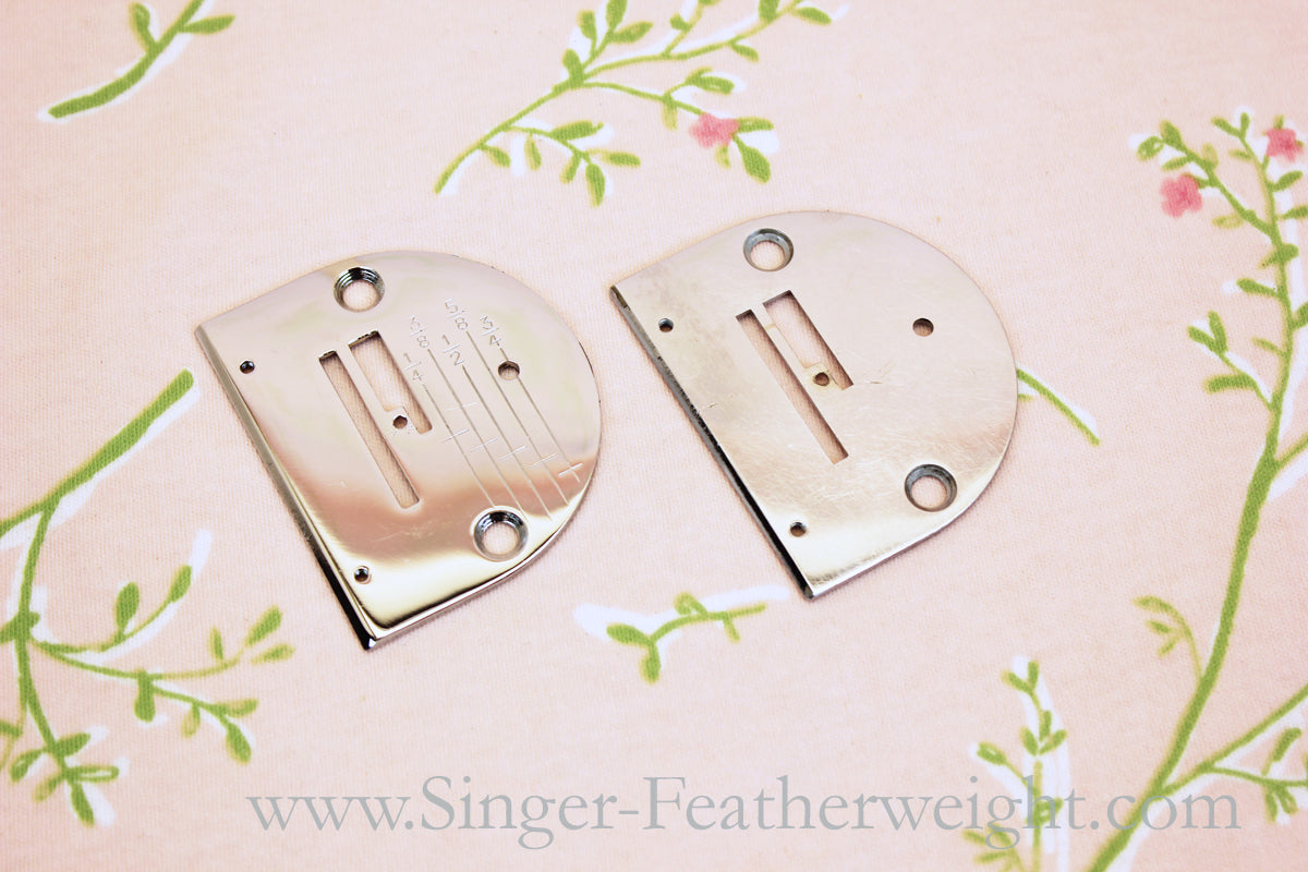 Singer Featherweight 221 Graduated Stitch Plate Comparison