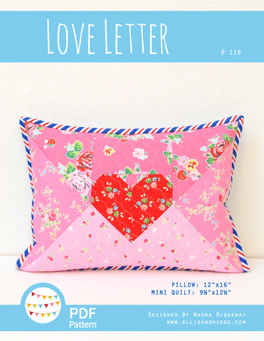 Love Letter Pillow and Mini Quilt by ellis & higgs