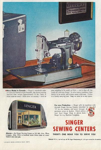 Singer Featherweight Made in Canada Advertisement