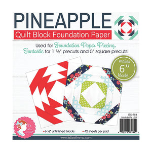 "PATTERN,  Pineapple Quilt Block Foundation Paper Piecing from It's Sew Emma - 6"" inch"