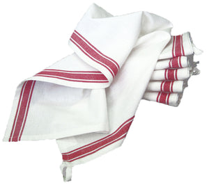 Tea Towel, Vintage Style - RED STRIPE (Pack of 3)