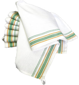 Tea Towel, Vintage Style - GREEN STRIPE (Pack of 3)