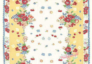 Fabric, 16-Inch Toweling Granny Garden by MODA - YELLOW GRANNY ROSE (by the yard)
