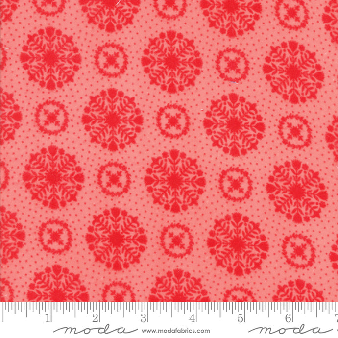 Fabric, Vintage Holiday FLANNEL by Bonnie & Camille for Moda - Pink Snowflakes (by the yard)